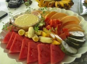Fruit platter and mango dip