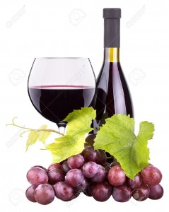 20150852-Ripe-grapes-wine-glass-and-bottle-of-wine-isolated-on-white-Stock-Photo